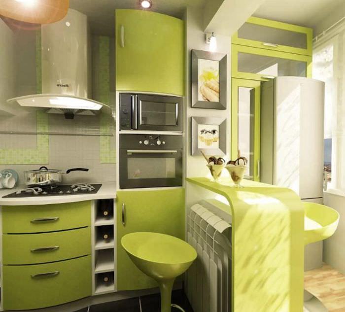 Светло-зеленая кухня в современном стиле