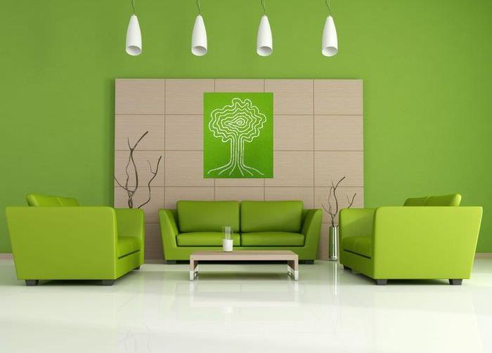 Дизайн зеленой гостиной в стиле минимализма