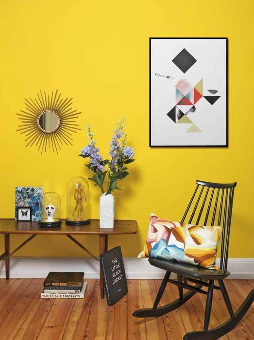 Желтая стена в интерьере жилой комнаты
