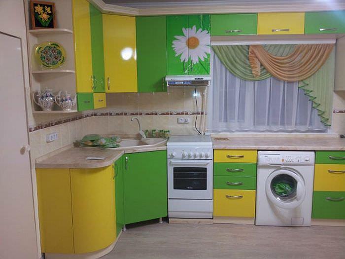Желто-зеленый гарнитур угловой конфигурации