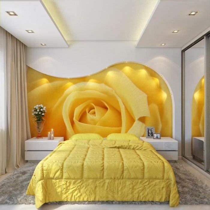 Желто-белая спальня в стиле минимализма