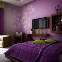 Дизайн спальной комнаты в фиолетовых оттенках