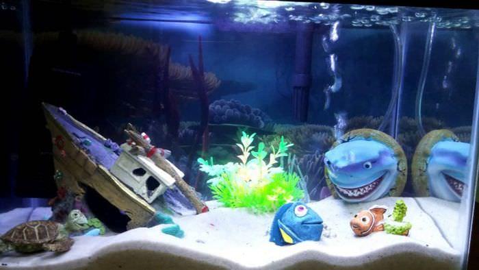 Оформление аквариума в стиле мультфильмов