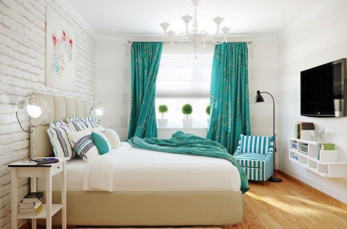 Использование текстиля в качество акцентов в интерьере спальни