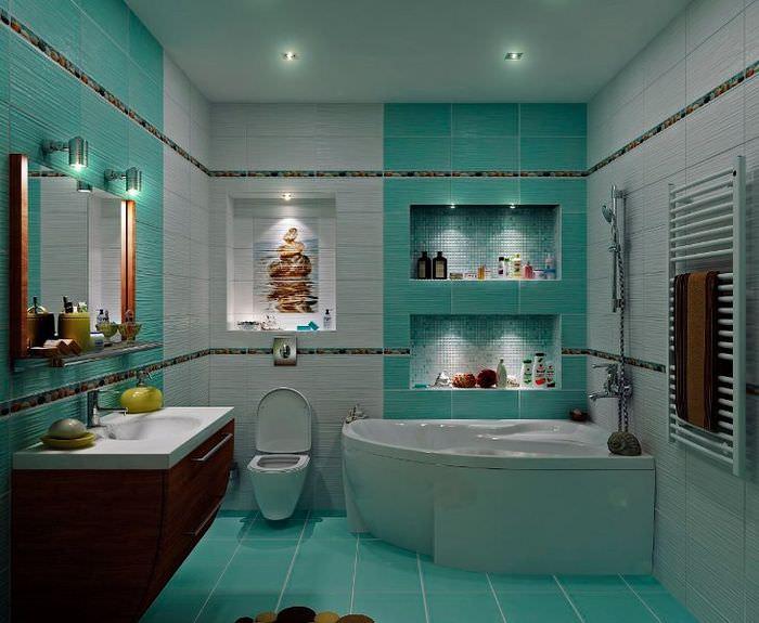 Бирюзовый кафель в интерьере совмещенной ванной комнаты