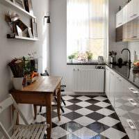 Дизайн узкой кухни с линейным гарнитуром