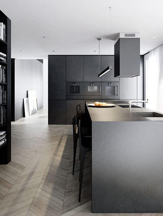 Дизайн черно-белой кухни в стиле минимализма