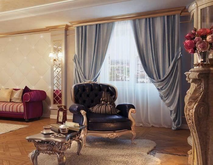 Шикарный интерьер гостиной с итальянскими шторами