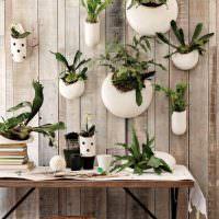 Стена с живыми растениями в белых кашпо