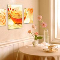Модульная картина на стене кухни