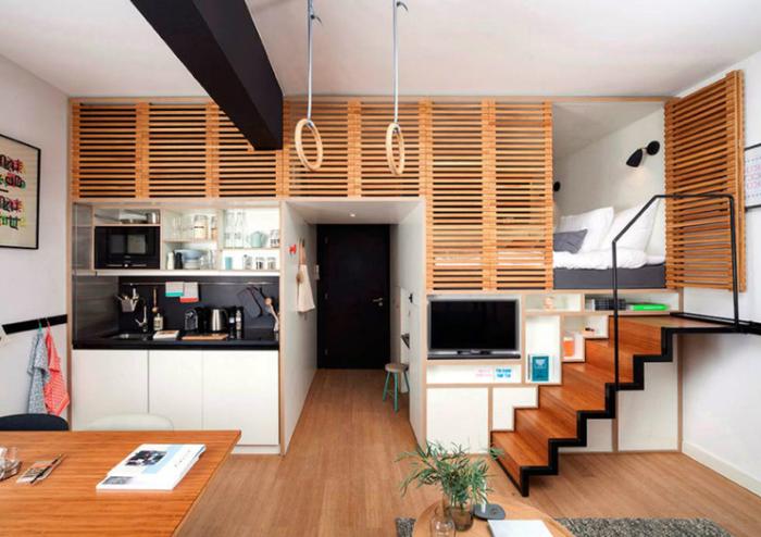 Интерьер квартиры студии в два яруса