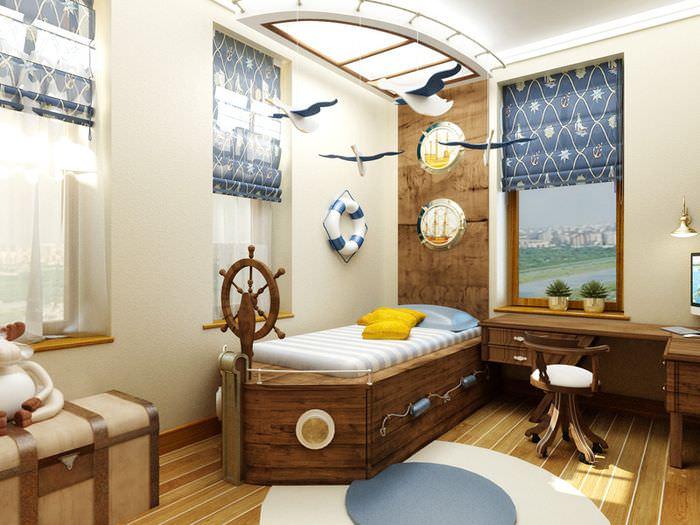 Детская кровать-корабль со штурвалом