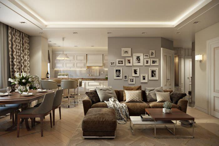 Интерьер гостиной-столовой в трехкомнатной квартире