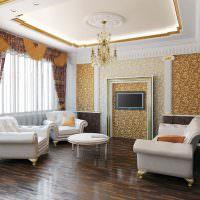 Рельефный потолок в гостиной классического стиля
