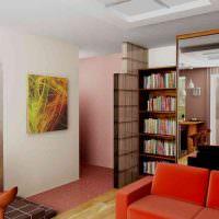 Красный диван в небольшой гостиной