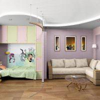 Детский уголок в гостиной однокомнатной квартиры