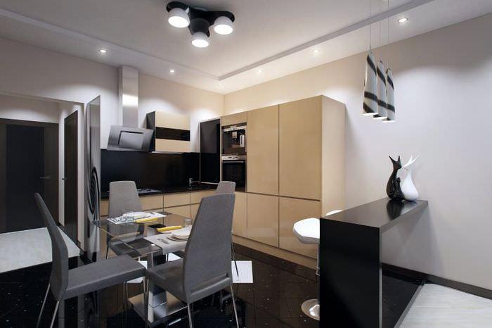 Интерьер кухни-столовой в черно-белых оттенках