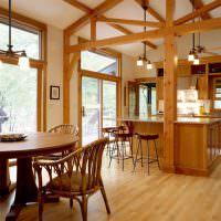 Интерьер кухни-гостиной в каркасном доме