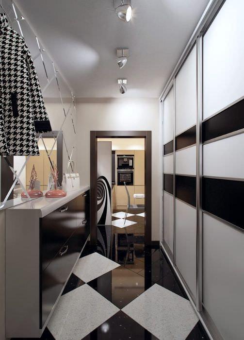 Дизайн узкой прихожей в трехкомнатной квартире