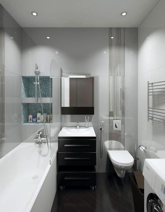 Интерьер совмещенной ванной комнаты в черно-белых тонах