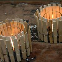 Вазочки для свечей из бельевых прищепок