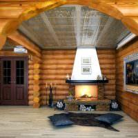 Стеклянный потолок в срубовом доме
