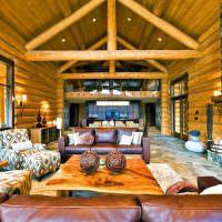 Дизайн гостиной с высоким потолком в загородном доме