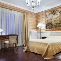 Спальня в доме из бруса в классическом стиле