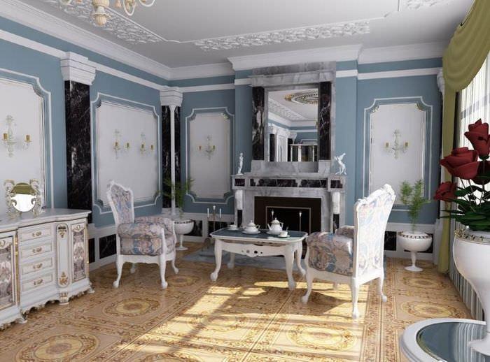 Столик для чаепития перед камином в гостиной античного стиля
