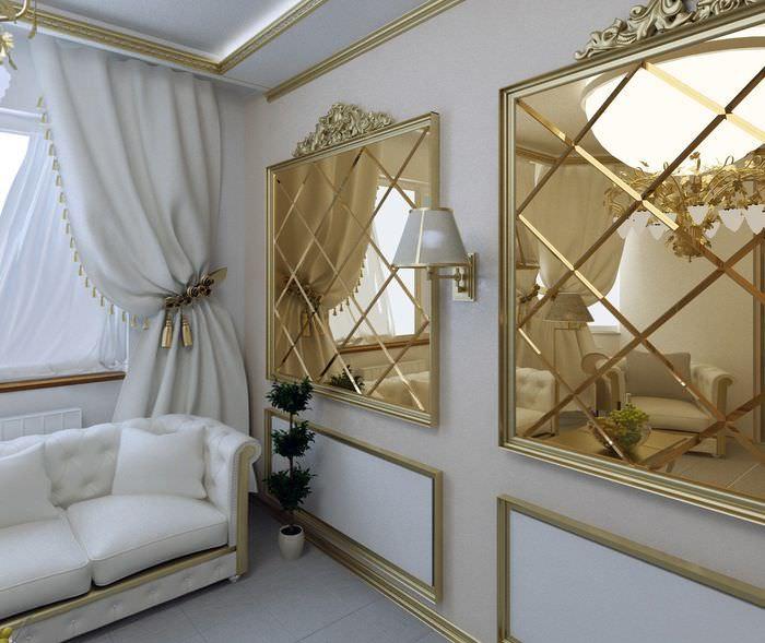 Зеркальная плитка в классическом интерьере