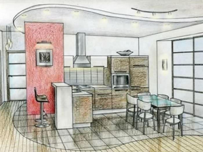 Рисунок дизайна кухни с угловым гарнитуром