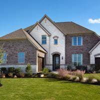 Зеленая трава на газоне перед домом