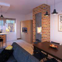 Дизайн кухни-гостиной в таунхаусе