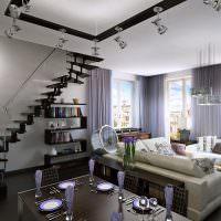 Черная лестница на больцах в интерьере гостиной