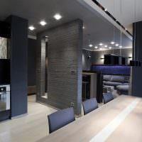 Темно-серые стены в интерьере кухни