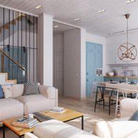Интерьер гостиной на первом этаже таунхауса
