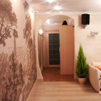 Фотообои на стене гостиного помещения