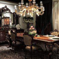 Оформление классической гостиной в темных тонах