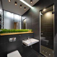 Дизайн современного санузла в темном цвете