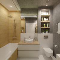 Ниша в ванной со встроенными полками