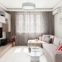 Серые шторы из полупрозрачной ткани