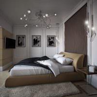 Текстурная штукатурка над изголовьем кровати