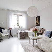 Общая комната в скандинавском стиле