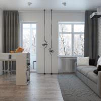 Дизайн гостиной с балконом и отдельным окном