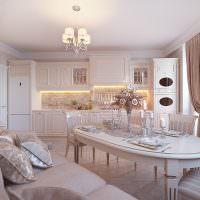 Шикарная кухня-гостиная в кремовых оттенках