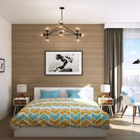 Отделка стены спальни ламинированными панелями
