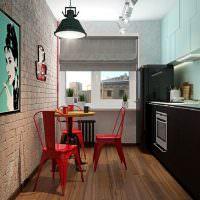 Красные стулья на кухне в стиле лофт