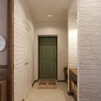 Имитация кирпичной кладки на стене коридора