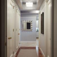 Белые межкомнатные двери в узком коридоре