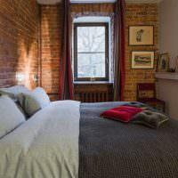 Узкая спальня в стиле лофт